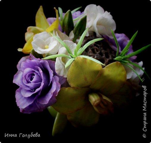 Лавандовые розы из холодного фарфора. фото 14