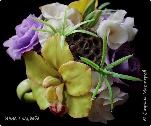 Лавандовые розы из холодного фарфора. фото 3