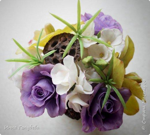 Лавандовые розы из холодного фарфора. фото 7