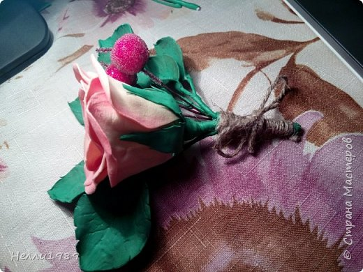 Мой второй цветок из фоамирана (тоже роза) фото 3