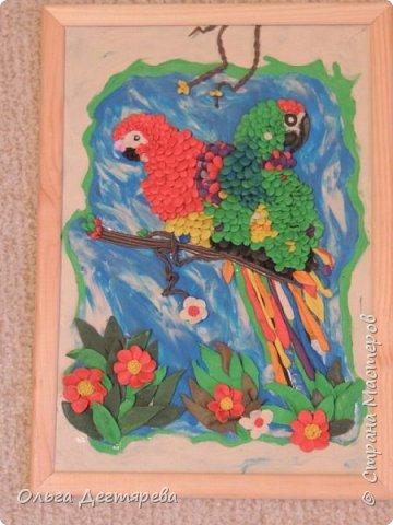 """Вот такие попугайчики у нас получились с сынулькой на конкурс """"Мир птиц"""". фото 1"""
