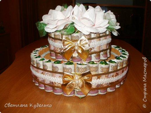 Здравствуйте,жители страны мастеров.Вот сделала тортик на юбилей сватьи по мк Татьяны Риске,спасибо ей большое.Юбилярша осталась  довольна. фото 1