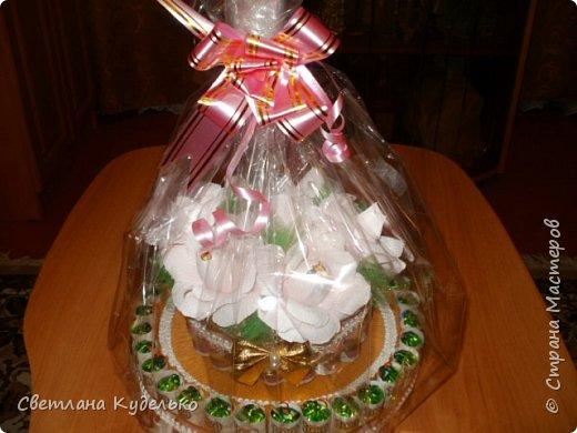 Здравствуйте,жители страны мастеров.Вот сделала тортик на юбилей сватьи по мк Татьяны Риске,спасибо ей большое.Юбилярша осталась  довольна. фото 5