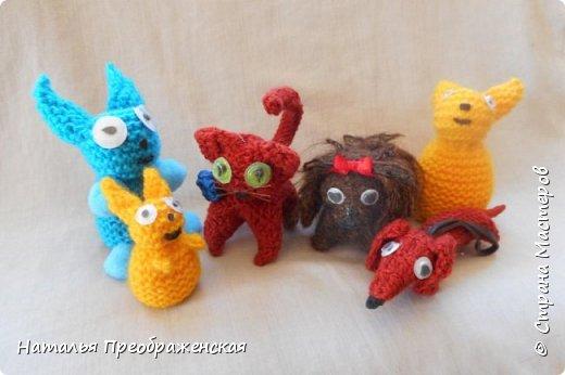 Добрый вечер дорогие Мастера! Давно отложила себе замечательные МК по вязаным игрушкам. Большое спасибо авторам: http://stranamasterov.ru/node/992336?t=451 http://stranamasterov.ru/node/125157 http://stranamasterov.ru/node/287580?c=favorite_1157 http://www.happy-giraffe.ru/community/25/forum/post/55524/ Получаются быстрые, милые сувенирчики. Но раньше все недосуг было этим заняться. А тут у меня стал отрубаться интернет (а он, оказывается, столько времени съедает!) и благодаря этому за несколько дней навязались эти малышки. Я не люблю делать однотипные вещи, мне скучно повторять одно и то же, поэтому только первые игрушки связала по прописям, а потом начала экспериментировать. Вот что у меня получилось. фото 7