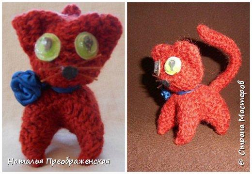 Добрый вечер дорогие Мастера! Давно отложила себе замечательные МК по вязаным игрушкам. Большое спасибо авторам: http://stranamasterov.ru/node/992336?t=451  http://stranamasterov.ru/node/125157 http://stranamasterov.ru/node/287580?c=favorite_1157   http://www.happy-giraffe.ru/community/25/forum/post/55524/ Получаются быстрые, милые сувенирчики. Но раньше все недосуг было этим заняться. А  тут у меня стал отрубаться интернет (а он, оказывается, столько времени съедает!) и благодаря этому за несколько дней навязались эти малышки. Я не люблю делать однотипные вещи, мне скучно повторять одно и то же, поэтому только первые игрушки связала по прописям, а потом начала экспериментировать. Вот что у меня получилось.  фото 3
