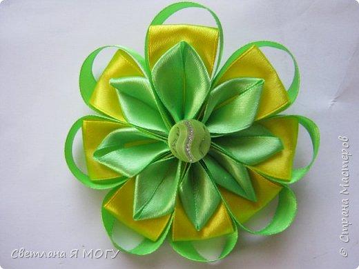 Необычный желто-зеленый бантик фото 3