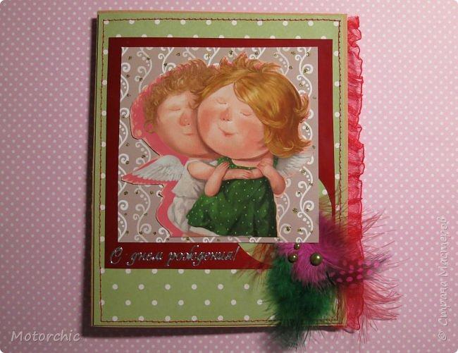"""Завтра (а точнее, - через пару часов) - День Рождения одной моей подружки. И на днях в моих руках родилась эта нежная открытка. Толчком к созданию стала одна из работ Евгении Гапчинской, где ангел-хранитель мило обнимает девочку. Дальше вся открытка """"плясала"""" от этого сюжета. фото 1"""