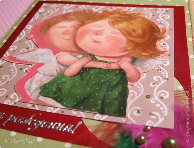 """Завтра (а точнее, - через пару часов) - День Рождения одной моей подружки. И на днях в моих руках родилась эта нежная открытка. Толчком к созданию стала одна из работ Евгении Гапчинской, где ангел-хранитель мило обнимает девочку. Дальше вся открытка """"плясала"""" от этого сюжета. фото 2"""
