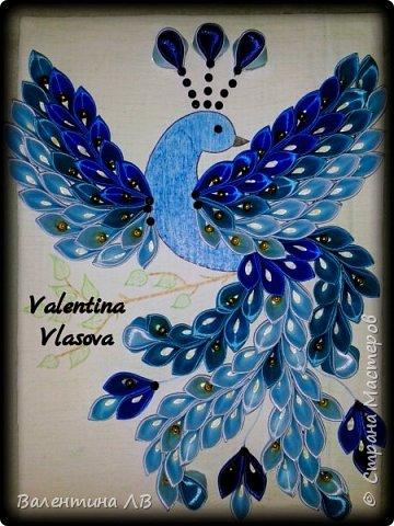 Здравствуйте.  Где-то на просторах интернета видела работу неизвестного мне автора,  выполненную из лепестков техники цумами канзаши. Очень понравилась эта работа, правда, там была жар-птица из блестящей ленты. Я же люблю все оттенки синего,  поэтому решила сделать её по-своему и по своему рисунку. Рисунок лично мой-авторский. Получилась некая сказочная птица.) фото 1