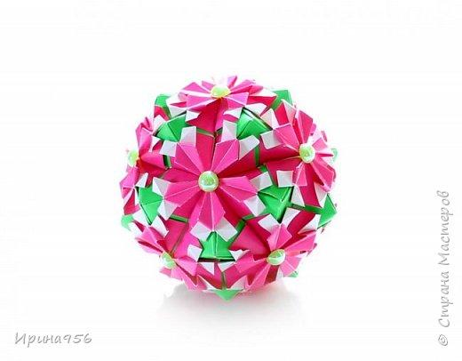 Рetal globe МК http://stranamasterov.ru/node/92773?c 30+30 модулей 5 х 2,5 см.  Размер около 6 см. фото 2