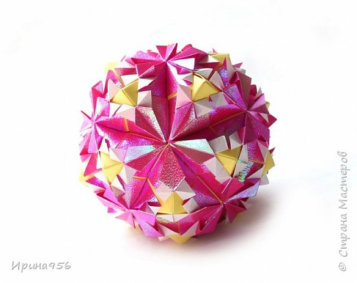 Рetal globe МК http://stranamasterov.ru/node/92773?c 30+30 модулей 5 х 2,5 см.  Размер около 6 см. фото 4