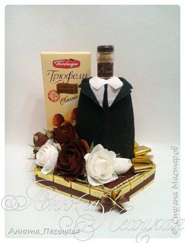 """""""Очарование весны"""" Итак моя первая объемная работа, корзина тюльпанов из конфет на 8 марта, заказали для директора музыкальной школы, около 4 коробок конфет рафаэлло.  фото 3"""