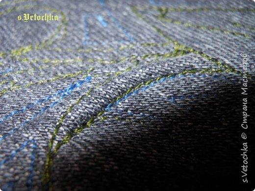 Училась создавать фактурную поверхность на простой ткани. У меня-джинса. фото 20