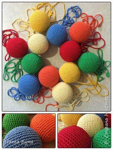 Обвязанные шары для сада! Такими шарами детки учатся обматывать нить вокруг шара вперед и назад!!! фото 1