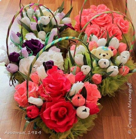 """Сладкая корзинка с розами. всего 15 штук, конфетка """"Марсианка"""" фото 8"""