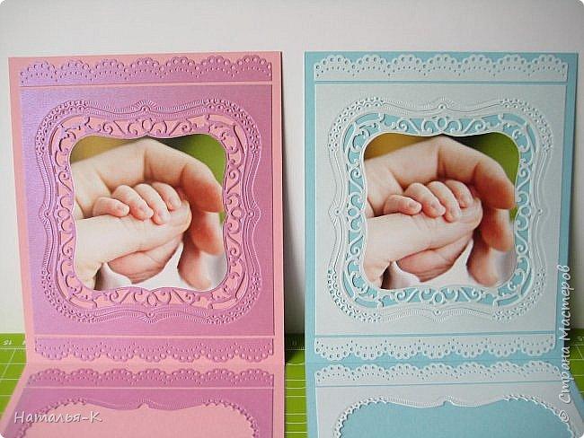 Здравствуйте! Доброго всем утра или дня! Сегодня я пришла показать вам свадебные открытки и открытки на крестины деток. Ажур и лебеди - перламутровая светло - голубая бумага плотностью 220 гр. Размер 12 х 16 см.  Заказчица одна, свадьбы разные, поэтому сделала две одинаковые...  чтобы быстрее. фото 12