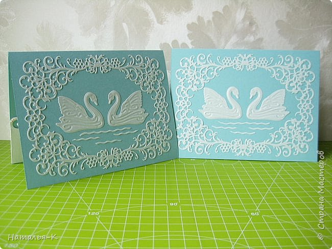 Здравствуйте! Доброго всем утра или дня! Сегодня я пришла показать вам свадебные открытки и открытки на крестины деток. Ажур и лебеди - перламутровая светло - голубая бумага плотностью 220 гр. Размер 12 х 16 см.  Заказчица одна, свадьбы разные, поэтому сделала две одинаковые...  чтобы быстрее. фото 1