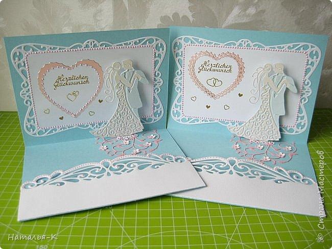Здравствуйте! Доброго всем утра или дня! Сегодня я пришла показать вам свадебные открытки и открытки на крестины деток. Ажур и лебеди - перламутровая светло - голубая бумага плотностью 220 гр. Размер 12 х 16 см.  Заказчица одна, свадьбы разные, поэтому сделала две одинаковые...  чтобы быстрее. фото 2