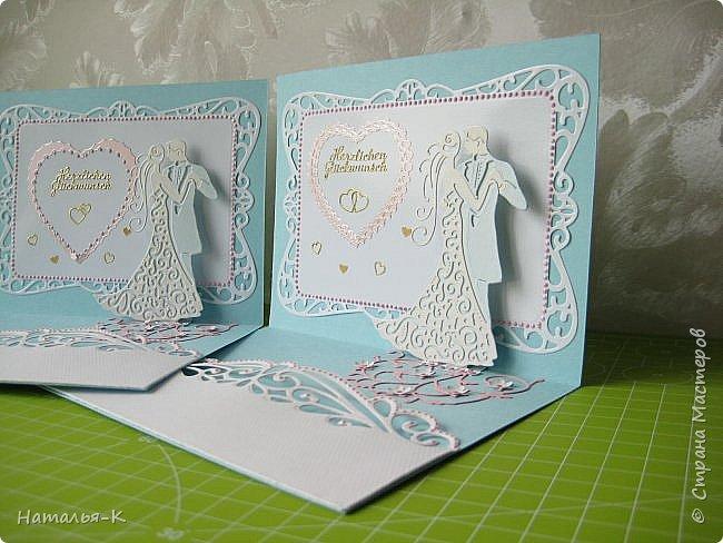 Здравствуйте! Доброго всем утра или дня! Сегодня я пришла показать вам свадебные открытки и открытки на крестины деток. Ажур и лебеди - перламутровая светло - голубая бумага плотностью 220 гр. Размер 12 х 16 см.  Заказчица одна, свадьбы разные, поэтому сделала две одинаковые...  чтобы быстрее. фото 3