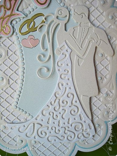 Здравствуйте! Доброго всем утра или дня! Сегодня я пришла показать вам свадебные открытки и открытки на крестины деток. Ажур и лебеди - перламутровая светло - голубая бумага плотностью 220 гр. Размер 12 х 16 см.  Заказчица одна, свадьбы разные, поэтому сделала две одинаковые...  чтобы быстрее. фото 8