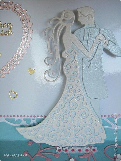 Здравствуйте! Доброго всем утра или дня! Сегодня я пришла показать вам свадебные открытки и открытки на крестины деток. Ажур и лебеди - перламутровая светло - голубая бумага плотностью 220 гр. Размер 12 х 16 см.  Заказчица одна, свадьбы разные, поэтому сделала две одинаковые...  чтобы быстрее. фото 7