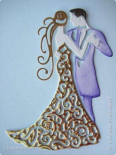 Здравствуйте! Доброго всем утра или дня! Сегодня я пришла показать вам свадебные открытки и открытки на крестины деток. Ажур и лебеди - перламутровая светло - голубая бумага плотностью 220 гр. Размер 12 х 16 см.  Заказчица одна, свадьбы разные, поэтому сделала две одинаковые...  чтобы быстрее. фото 9