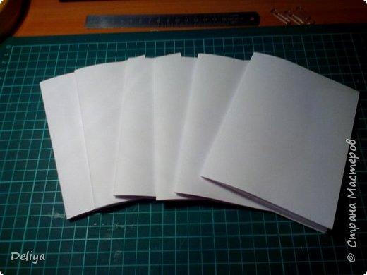 Обещанный МК по обложке Блокнота, но я решила, что нужно начать с самого начала. Итак, блок бумаги, листов блокнота. Я взяла маленький размер листочков 21*14 см фото 2