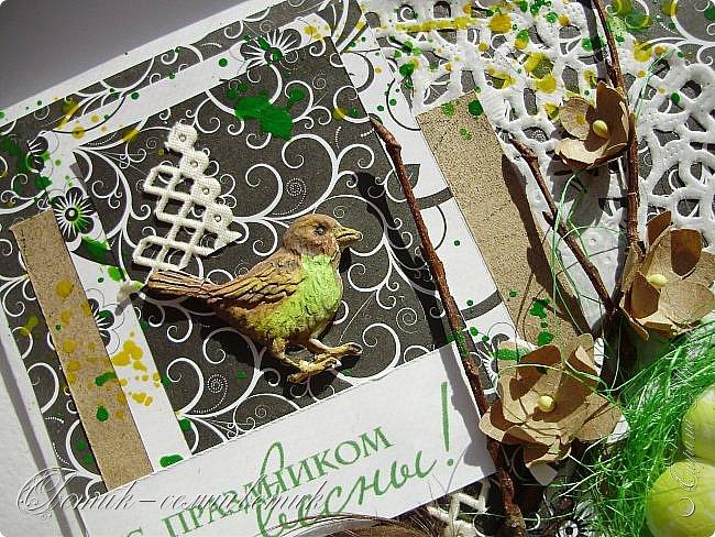 Доброго всем весеннего дня! Надеюсь, что эти птички свили свои гнезда последними этой весной:) И если мы с птичками вам еще не надоели, то приглашаю посмотреть на 2 новые открытки:) фото 7