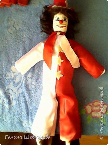 Игрушка Веселый клоун.   Высота-40 см, легкий, т.к пустотелый, ножки, ручки двигаются, головка крутится. фото 1