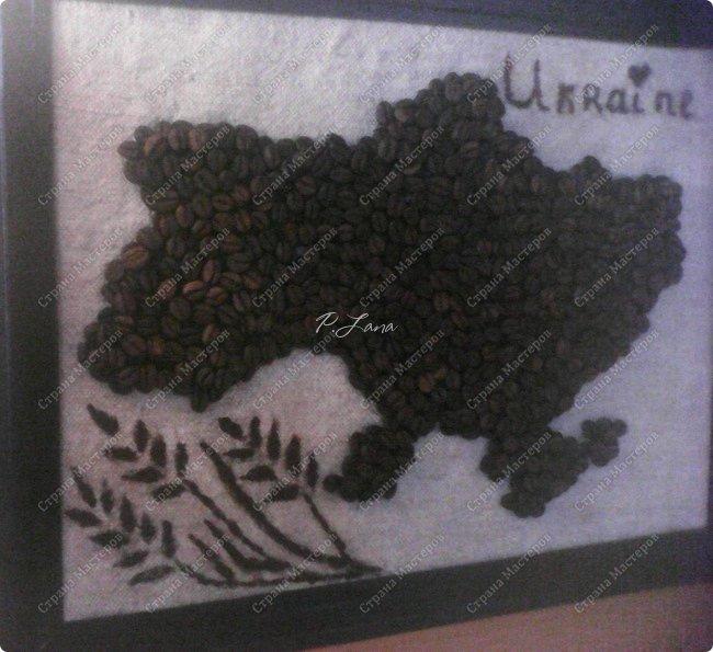 Всем добрый вечер! Сегодня у меня карта Украины сделанная из зёрен кофе.Идея не моя ,вот тут можно посмотреть работы которые меня вдохновили  http://stranamasterov.ru/node/548528 , http://stranamasterov.ru/node/567978  . Спасибо большое няни Вики за идею. фото 2