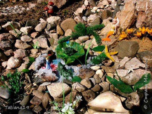 Давно мечтала иметь водоемчик возле горки.Делала из большого тазика-там селились лягушки и вода гнила.В этом году перенесла горку и смастерила небольшое озерцо из герметика. фото 4