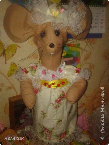 мышка на банку-хранительница пуговок по выкройкам из журнала Лена-рукоделие фото 1