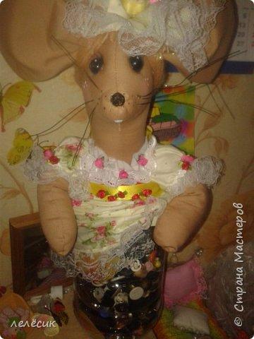 мышка на банку-хранительница пуговок по выкройкам из журнала Лена-рукоделие фото 3