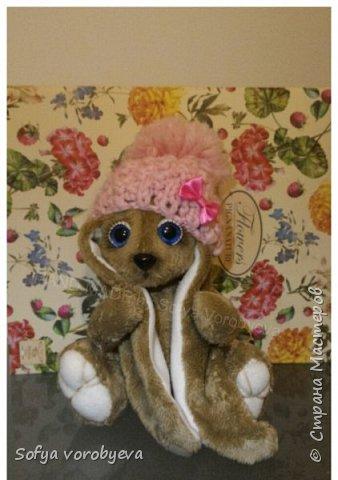 Готова зайка в стиле тедди, у девочки лапки, ножки , голова на шплинт.соединениях, набита синтепоном, глазки расписаны вручную, тонировка мордочки и лап, шапочка, зайка сшита армированными нитями полностью!  #handmade#by #sofyav#тедди#игрушки#своими#руками#тэдди# она сшита из меха очень плотного, игрушка проживет лет 300, а при бережном уходе и все 1000) ворс сверху, а внутри подклад кожа, интерьерная игрушка, ворс можно причесать щеткой и уложить так как нравится. Дарите радость близким, игрушка хорошего качества, из дорогих материалов, италии) зайка полностью шита в ручную! Все иглы на машинке сломались, тк. машинка не смогла пробить шкурку..) результат стоит этого) фото 2