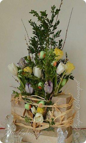 """1.""""Гнёздышко весеннее"""" Состав: керам.кашпо, флор.губка (оазис), сизаль, пенопластовые яйца. Цветы и зелень: альстромерия, кустовая роза, статица, салал, фисташка, пастушья сумка.  фото 31"""