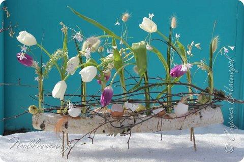 """1.""""Гнёздышко весеннее"""" Состав: керам.кашпо, флор.губка (оазис), сизаль, пенопластовые яйца. Цветы и зелень: альстромерия, кустовая роза, статица, салал, фисташка, пастушья сумка.  фото 45"""