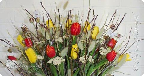 """1.""""Гнёздышко весеннее"""" Состав: керам.кашпо, флор.губка (оазис), сизаль, пенопластовые яйца. Цветы и зелень: альстромерия, кустовая роза, статица, салал, фисташка, пастушья сумка.  фото 11"""