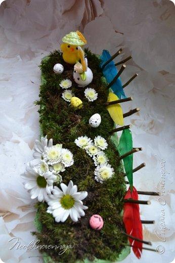 """1.""""Гнёздышко весеннее"""" Состав: керам.кашпо, флор.губка (оазис), сизаль, пенопластовые яйца. Цветы и зелень: альстромерия, кустовая роза, статица, салал, фисташка, пастушья сумка.  фото 4"""