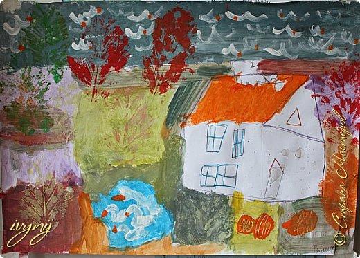 Мой сын ходит на рисование,хочу поделиться результатом его трудов.Ребенку 6 лет.Начал в сентябре и тематика соответствующая...осень....Кое кто решил подправить .. фото 2