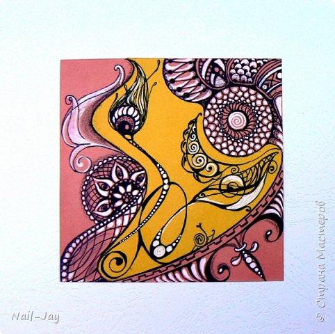 Вот и созрела у меня новая коллекция зентанглов!  Стало интересно поэкспериментировать с комбинированием цветной бумаги. Результат мне понравился. Так и появились на свет эти странные, причудливые, полу-мистические картинки, в которых каждый видит что-то своё.   Тут многие видят и змею, и дракона, и черепаху, и птицу... Улитка не в счёт - это мой автограф :-)  фото 5