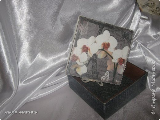 Шкатулки декупаж салфеткой, внутри морилка.Состаривание набрызг. фото 9