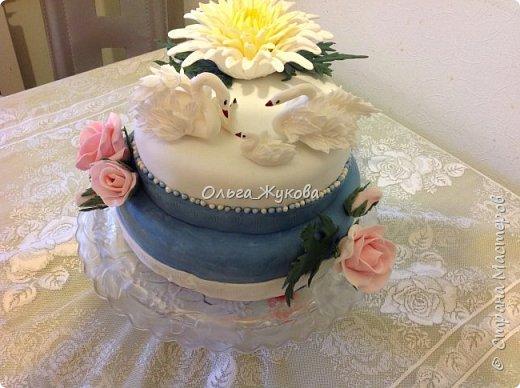 Доброго времени суток всем! Хочу показать ещё один торт на день рождения. Очень люблю лепить цветы. Тут впервые попробовала сделать хризантему из мастики. фото 1