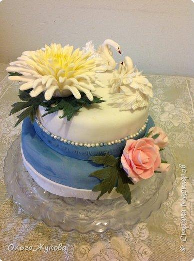 Доброго времени суток всем! Хочу показать ещё один торт на день рождения. Очень люблю лепить цветы. Тут впервые попробовала сделать хризантему из мастики. фото 4