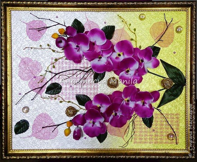 Всем привет! Вчера меня посетила муза и я сделала объемное панно с любимыми орхидеями)) Эдакое 3D)) Фон градиентный с переходом от золотисто-желтого в перламутровый белый. В работе использовала различные веточки, скелетированные листики, марблсы, перламутровые полубусины, флористическую сетку, ротанговые шарики, искусственные листики и цветы. Размер 40Х50. Оформлено в очень красивую рамку.  фото 1