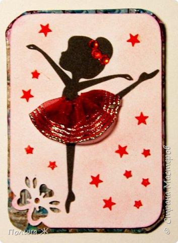 """Вот и готова моя новая серия """"Балеринки"""". Идея не нова, но мне очень понравилась, решила ее воплотить в серии карточек АТС. Ох, и промучилась я с маленькими звездочками, которые никак не хотели приклеиваться.  фото 6"""