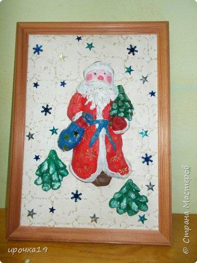 Вот такое панно. Дед Мороз сделан из соленого теста , раскрашен акриловыми красками. фото 1