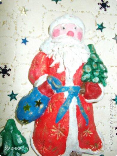Вот такое панно. Дед Мороз сделан из соленого теста , раскрашен акриловыми красками. фото 2