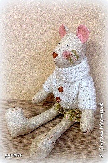 Добрый вечер страна!,,,немного о своих игрушках - Тильда зайцы и мишка, кукла и лисичка: глазки у всех - бусинки, носик вышит мулине нитками, ткань для тельца кукол - лен,краситель для ткани - кофе, наполнитель - холлофайбер, свитер у медведя связан крючком,,,в ушки зайцев вставлена стальная проволока,,,  фото 5