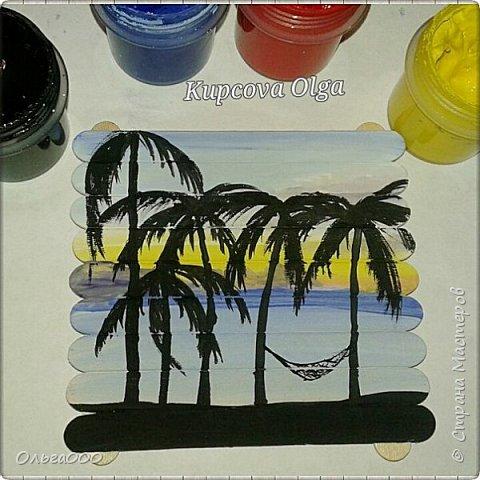 Подставочки под чашку из палочек от мореженого фото 5
