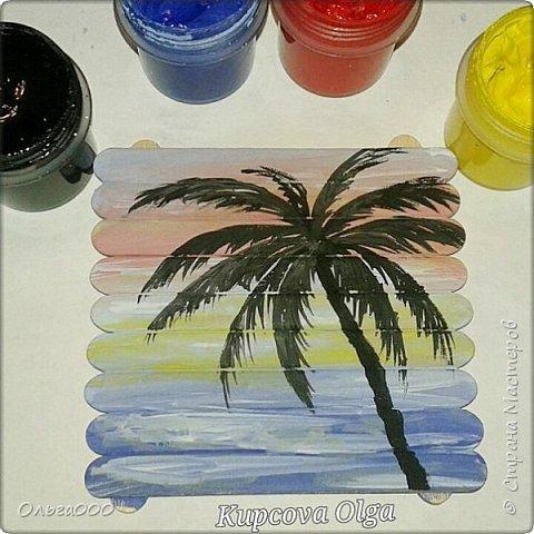 Подставочки под чашку из палочек от мореженого фото 3